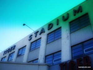 Tiger Stadium facade post-closing
