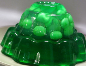 Green Jell-O with Grapes Vodka