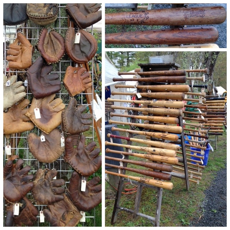 Old baseball bats and gloves