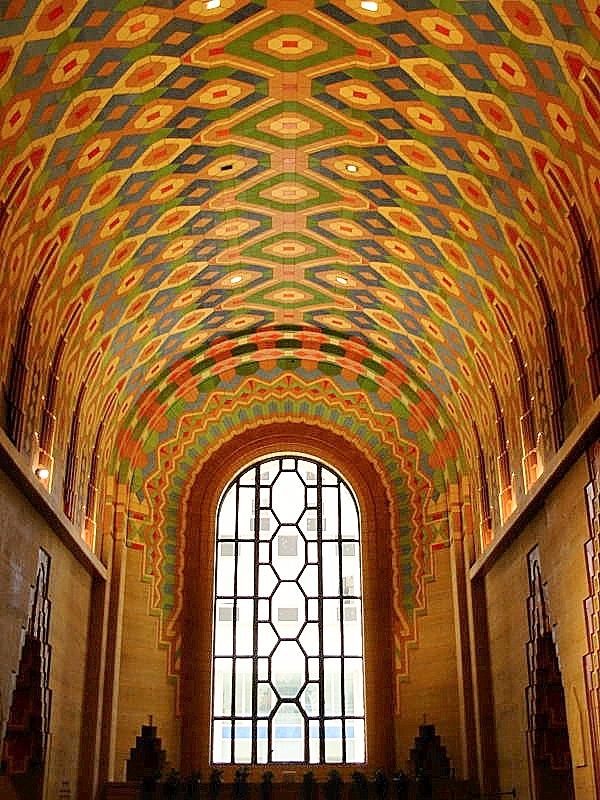 Barrel vault lobby ceiling mosaic