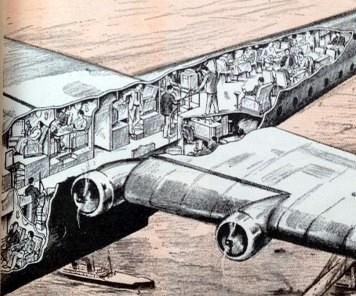 Cutaway of plane interior