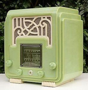 Green and white art deco radio