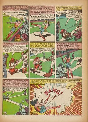 Wonder Woman plays baseball