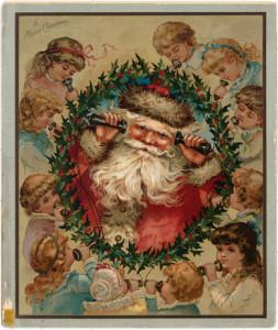 Prang Christmas Card, kids calling Santa