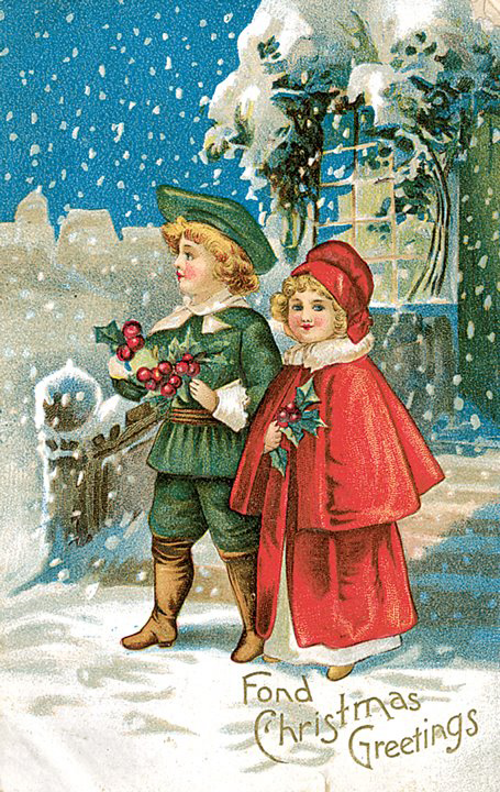 Prang Christmas Card, kids in snow
