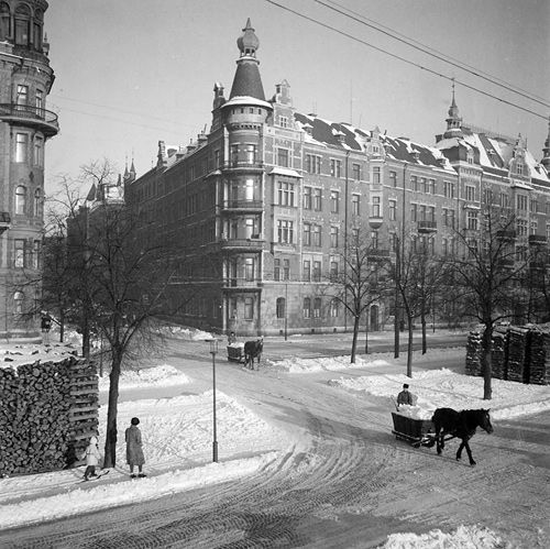 Carting snow in Stockholm, Sweden
