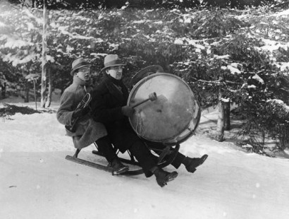 Sledding with a bass drum and horn