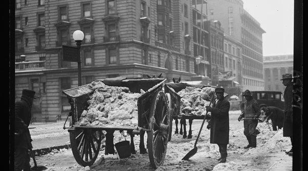 Clearing city streets back in the day