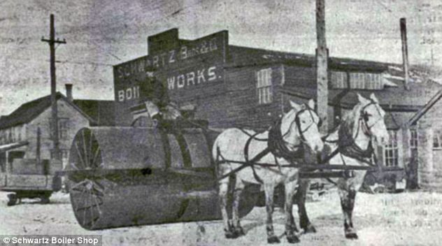 Horse-drawn snow roller