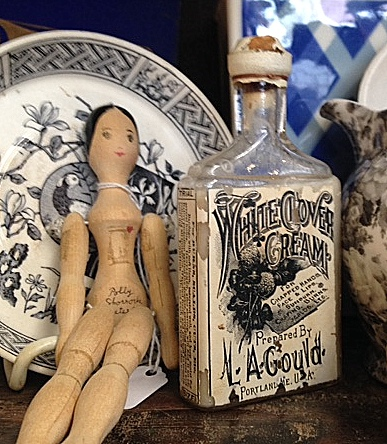 Transferware, doll, bottle
