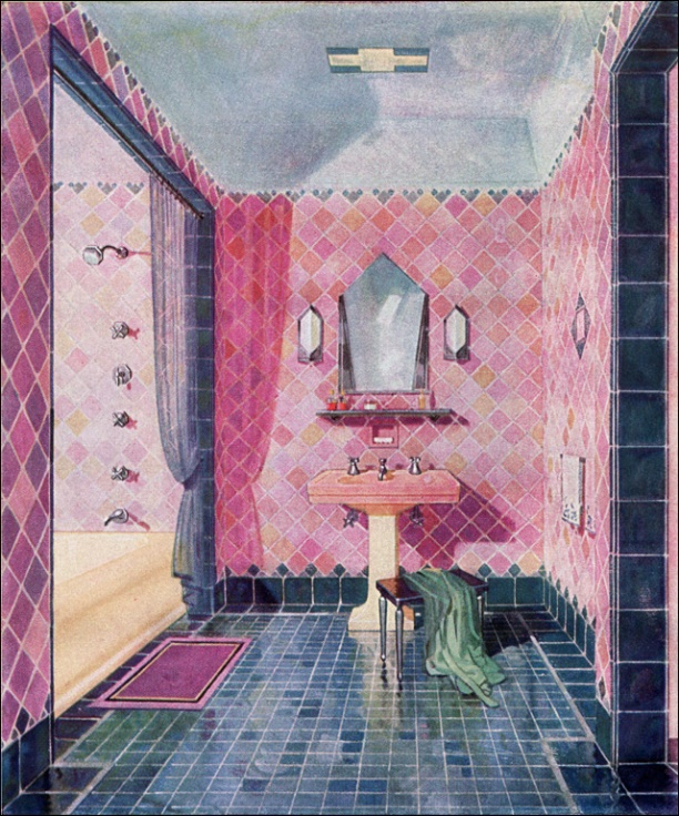 Pink tile 1920's bathroom