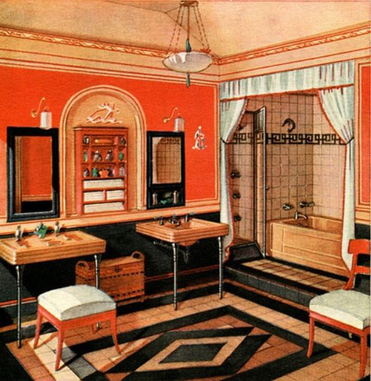 Red 1920s bathroom