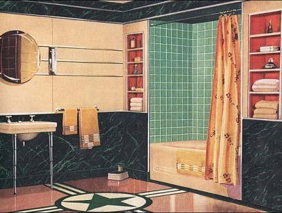 Streamline Moderne bathroom