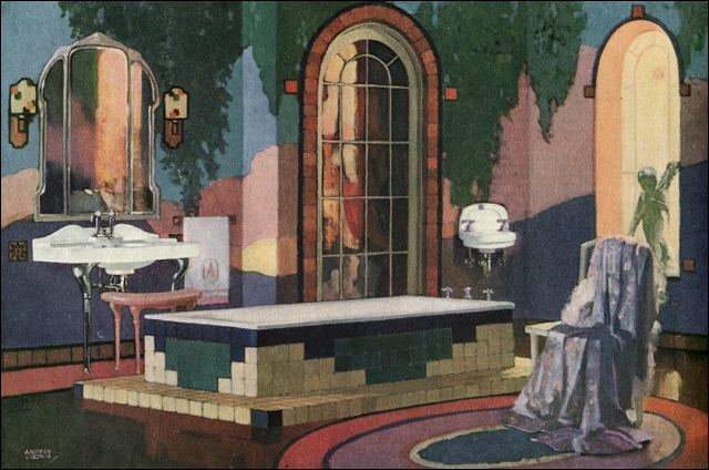 1920s bathroom mural walls