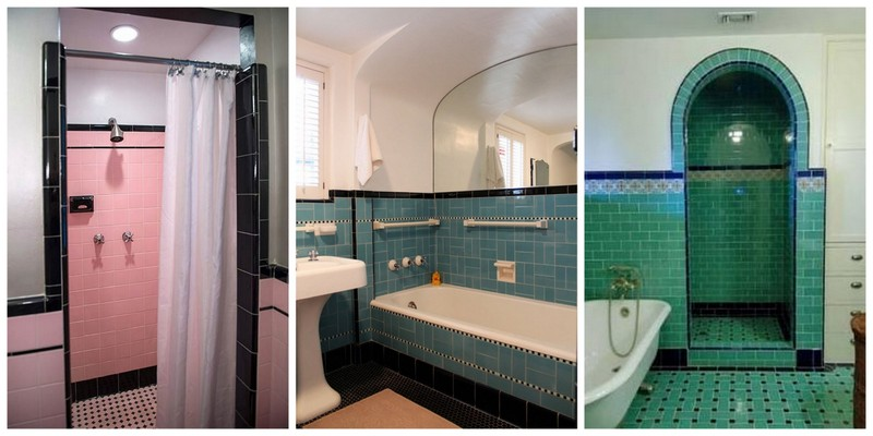 Collage of tiled bathrooms 1920-1940s