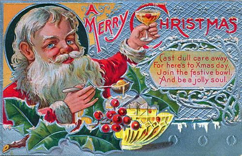 Vintage Santa with punch bowl postcard