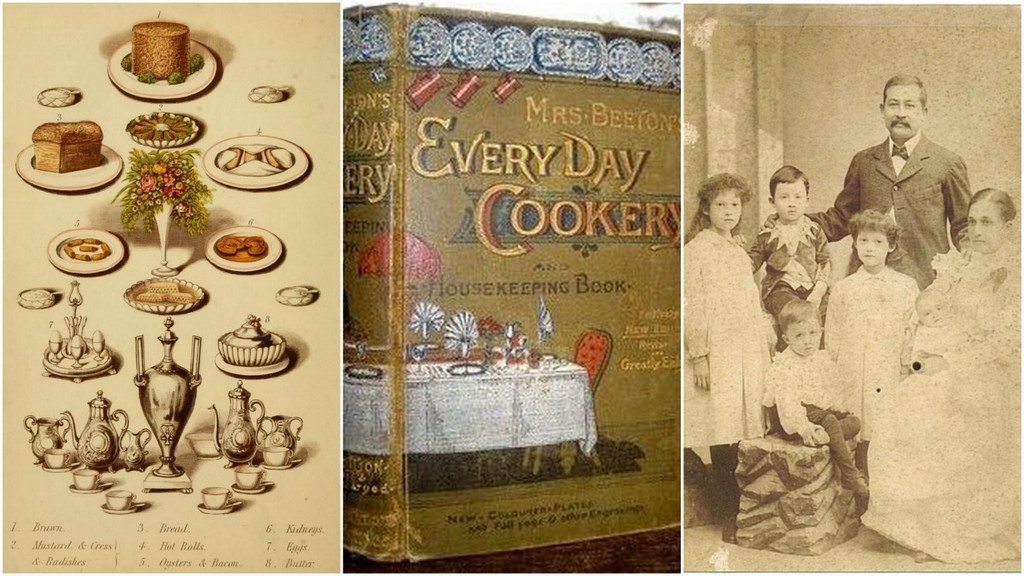Warne's Model Housekeeper page, Mrs. Beeton's, middle class victorian family