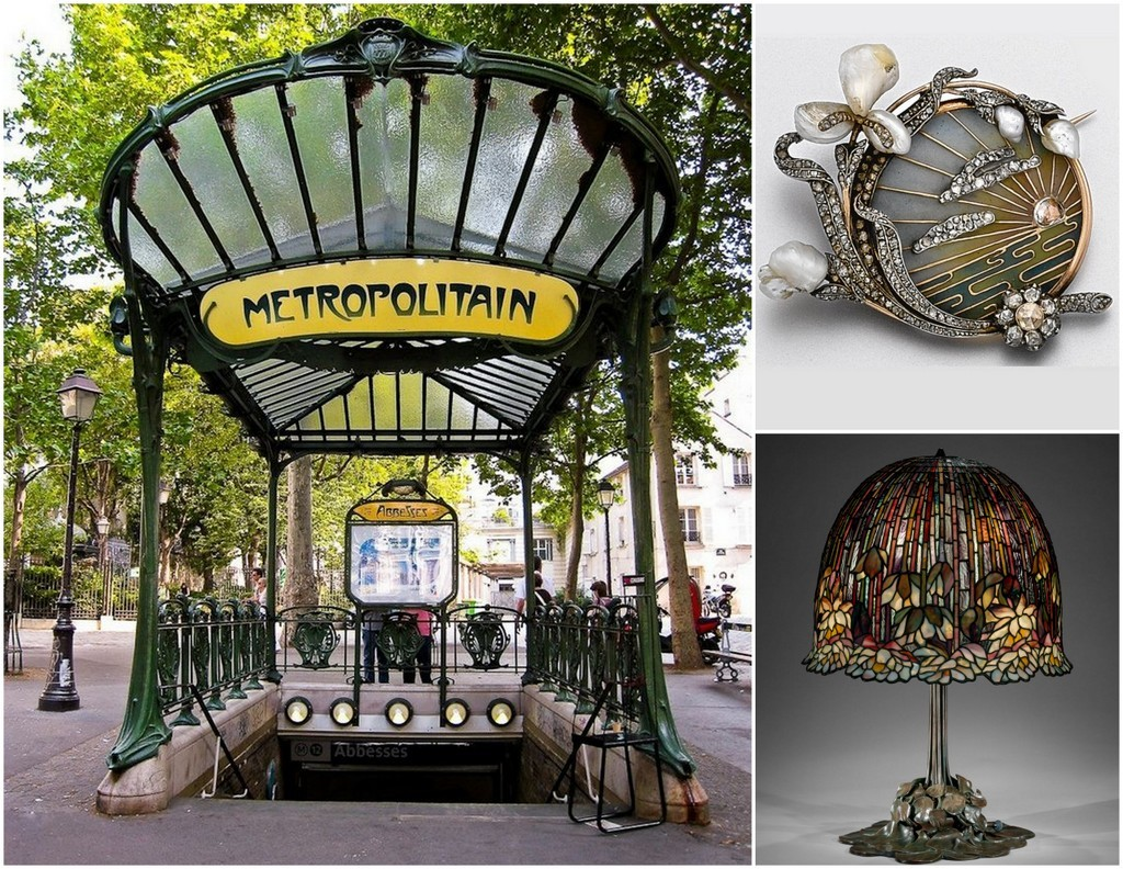 Art Nouveau Paris Metro, pin, Tiffany lamp