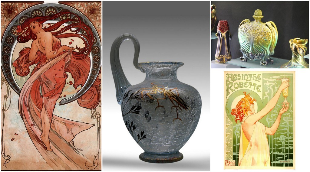 Art Nouveau art, ceramics, glass