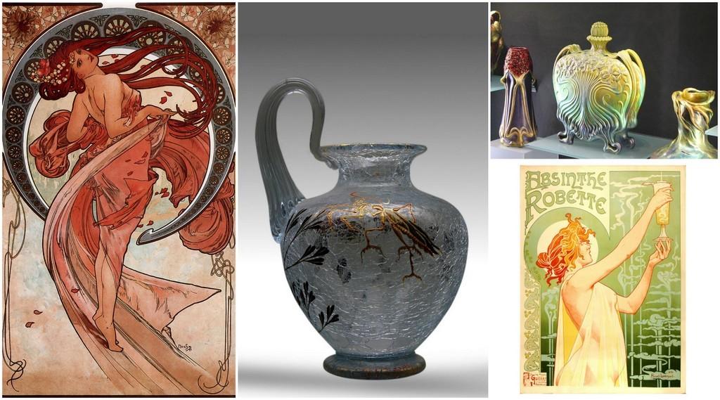 Art Nouveau art, ceramics, glass