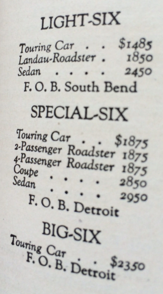 Studebaker auto prices 1920
