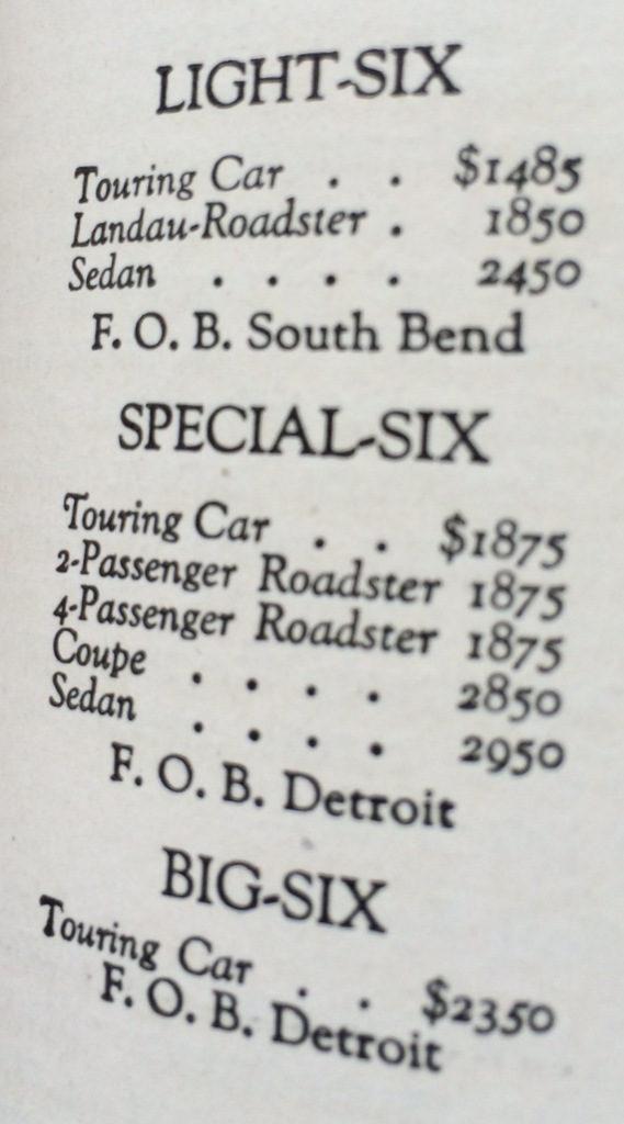 Studebaker auto prices 1920