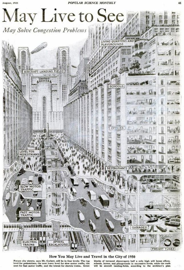 1925 view of a 1950 city, underground streets, retrofuturism