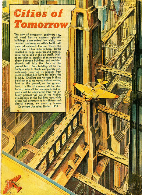 1939 city, layered streets, retrofuturism