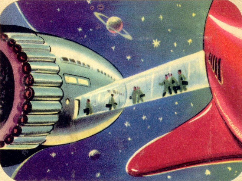 Spaceships docking, retrofuturism