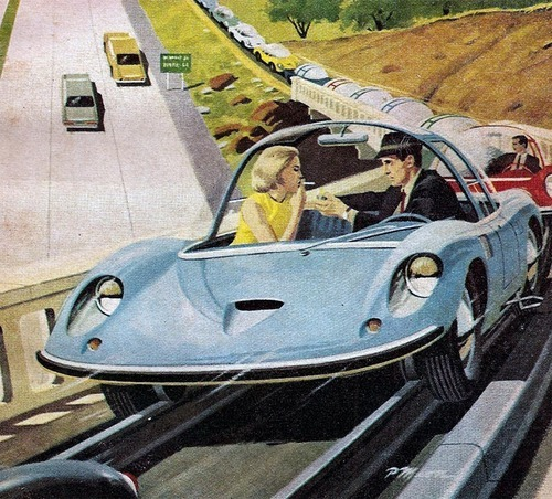 Hands free driving, retrofuturism