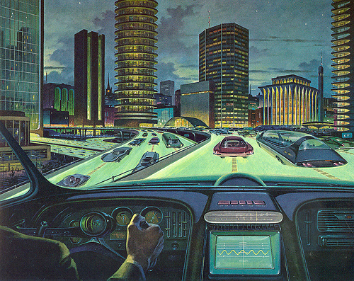 Future highway and dashboard, retrofuturism