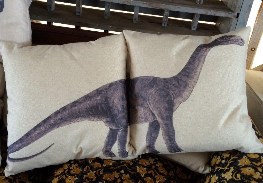 Brimfield, pillows dinosaur