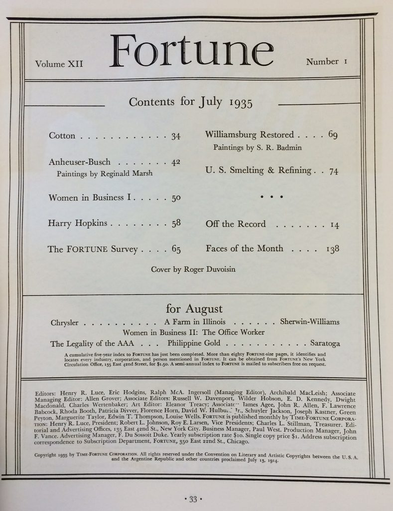 Fortune Mag, July 1935, Table of Contents