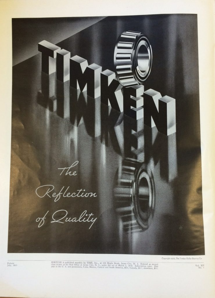Fortune Mag, July 1935, Timken Ad