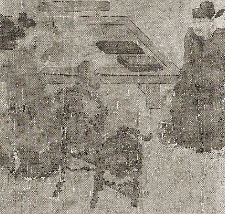 Rustic chair in 10thC Chinese scroll