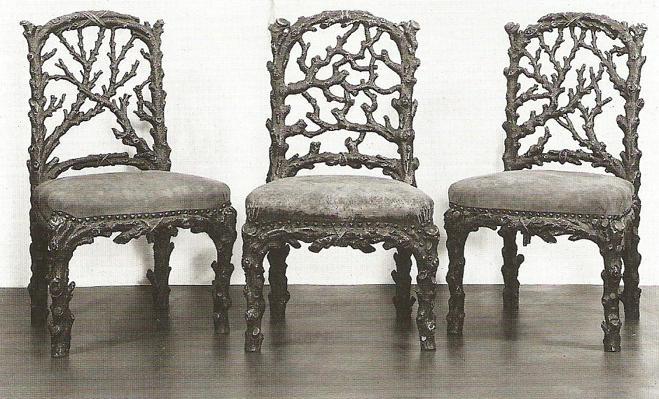 Rustic, faux rustic chairs at the V&A in London, England